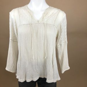 Lucky Brand Lace Detail Bohemian Blouse Medium